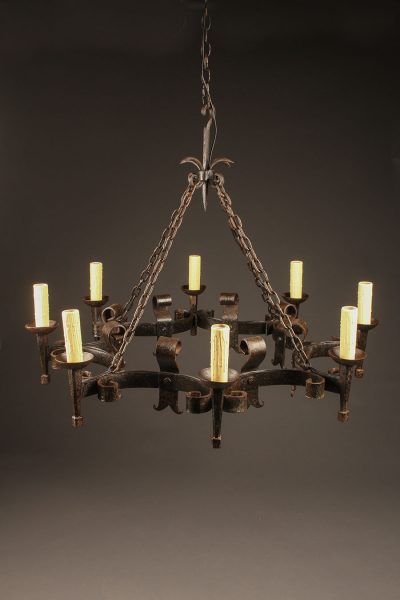 French iron chandelier with eight arms.
