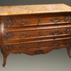 19th century French Louis XV style oak commode with marble top and bronze hardware, circa 1880.