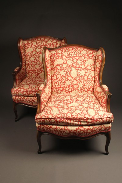 French Louis XV style wingback or wing chair