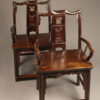 Mid 19th century pair of Chinese court chairs in teak, circa 1850-60.