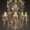 Late 19th century Italian six arm iron, wood, and crystal chandelier