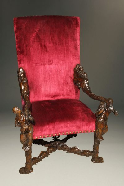 Mid 19th century Venetian arm chair with incredible hand carved frame, circa 1850.