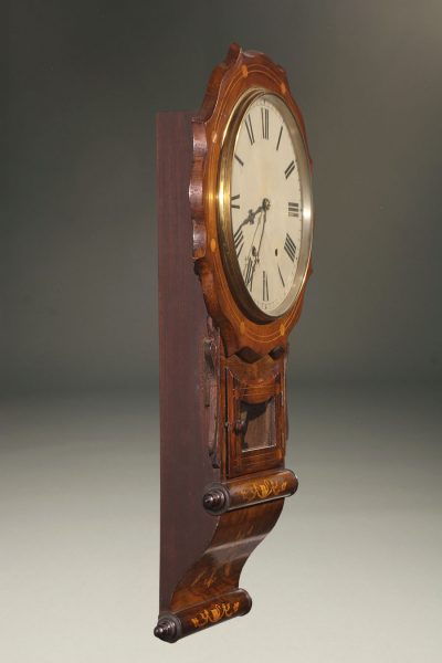 Late 19th century New Haven Clock Co. wall clock with walnut case ans charming inlay