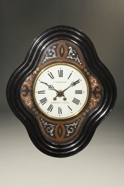 Late 19th century French Morez picture frame clock with mother of pearl details
