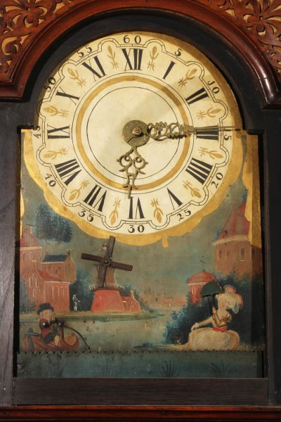 Late 18th century Dutch Frisian Staartklok with hand painted animated dial