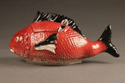 This a wonderful Portuguese fish shaped tureen with ladle.