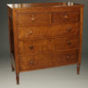 Early 19th century American Sheraton style chest of drawers in cherry, circa 1820-30.
