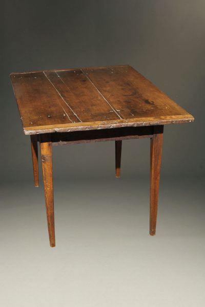 Late 18th century french work table with fruitwood top and elm legs, circa 1780-90.