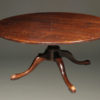 "18th century style custom 66"" round English pedestal table made from resawn cherry timbers."