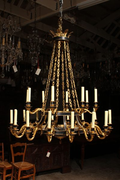 Magnificent French Empire style bronze chandelier with 24 lights.