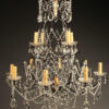 Late 19th century Italian iron and crystal 12 arm chandelier, circa 1890.