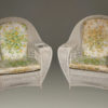 Wonderful pair of wicker armchairs with six legs. These chairs came from the Grand Hotel on Mackinac Island, circa 1900.