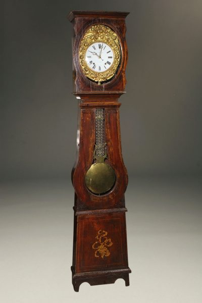 Mid 19th century French Comtoise/Morbier tall case clock with 8 day movement, circa 1870.