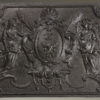 Very nice 17th century styled custom French fireback with coat of arms and angels design.