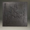 Early 19th century French fireback with a depiction of Napoleon on his horse, circa 1810.