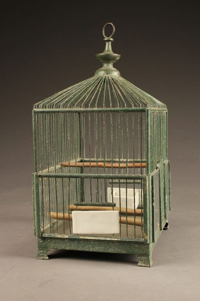 Late 19th century French green wire finch cage with milk glass feeder and bowl
