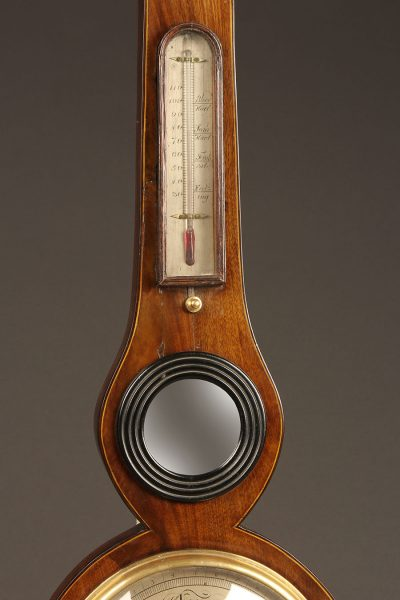 Late 19th century English barometer (nonworking), hydrometer and thermometer in a walnut case, circa 1870.