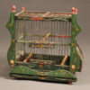 Very nice French finch cage hand painted to resemble a Gypsy's cart or wagon