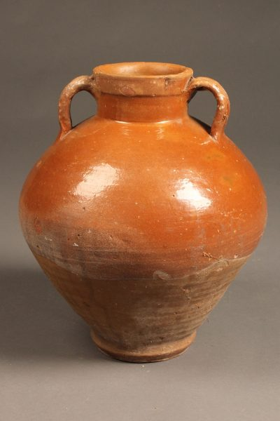 Late 19th century French olive jar with handles.