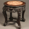 19th century Chinese table in hand carved teak with inset marble top