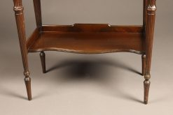 Mahogany English chair side book stand with lower self