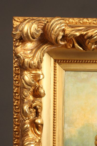 Oil on board painting of a beautiful gypsy girl in a Rococo style gilt frame,