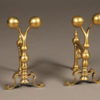 Very nice diminutive pair of English andirons in solid brass