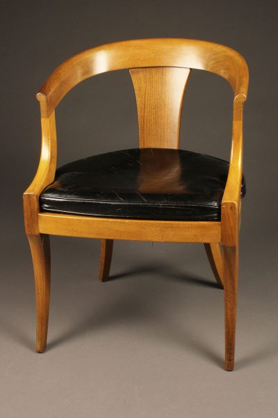 Nice mahogany arm chair with leather seat made by Kittenger