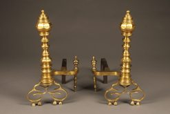 Very ornate pair of bronze beehive pattern English andirons