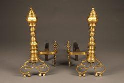Very ornate pair of bronze beehive pattern English andirons