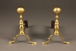 Late 19th century small brass English andirons with delicate feet