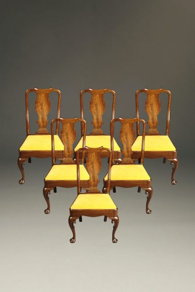 Very nice set of six late 19th century Queen Anne style side chairs with nicely detailed legs