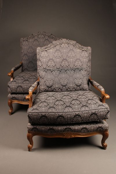 Nice pair of custom oversized arm chairs in the French Louis XV style.