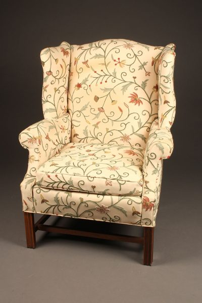 Chippendale style wingback armchair with marlborough legs