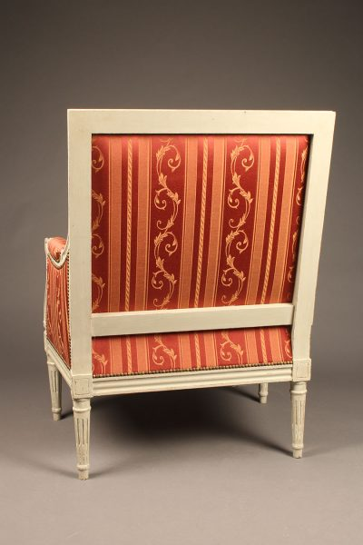 French Louis XVI styled painted bergère chair, circa 1920's