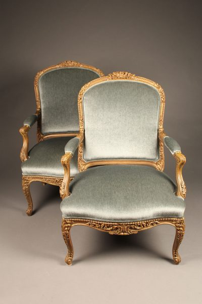 Wonderful pair of French Louis XV bergère chairs