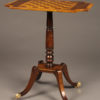 Custom English chess table with orate mixed woods on 4 leg pedestal