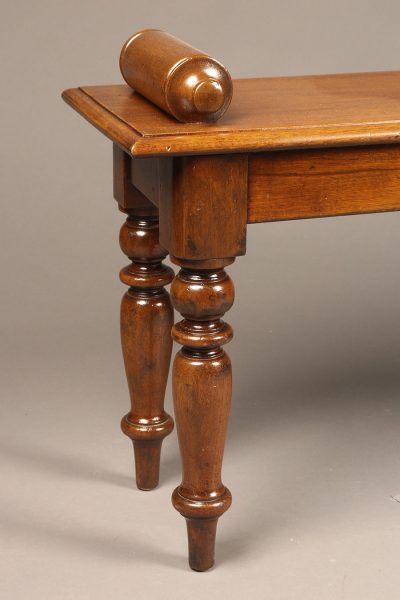Mahogany waiting bench with nicely turned legs