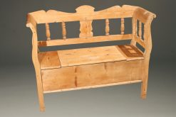 Swedish pine bench with arms and storage