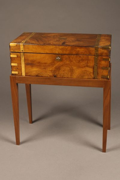 "18th century English ""lap desk"" on custom stand in walnut complete with ink bottles"