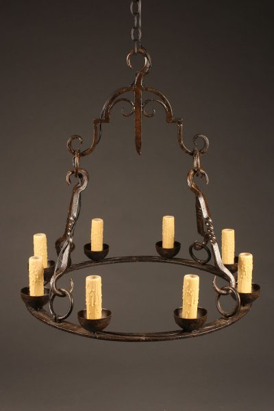 Late 19th century French wrought iron chandelier with 8 lights