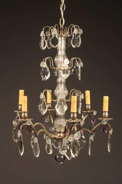 French bronze and crystal chandelier with six arms and nickel plating