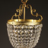 Bronze and crystal French hall light