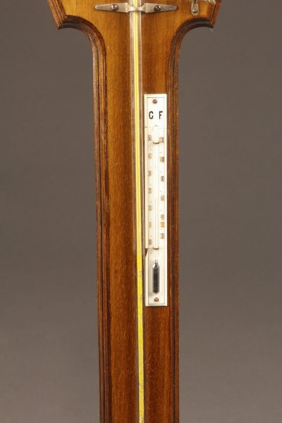 "Mid 19th century mahogany Dutch stick barometer and thermometer ""H.A. Reens, Rotterdam"""