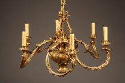 1920's French bronze 8 arm chandelier.