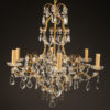 Late 19th century French 6 arm iron and crystal chandelier