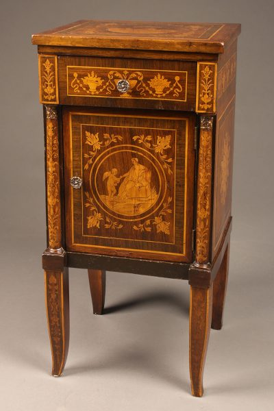Late 19th century French Louis XVI styled night stand with beautiful marquetry.