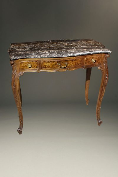 French Louis XV style walnut table with three drawers and beautiful marble top.