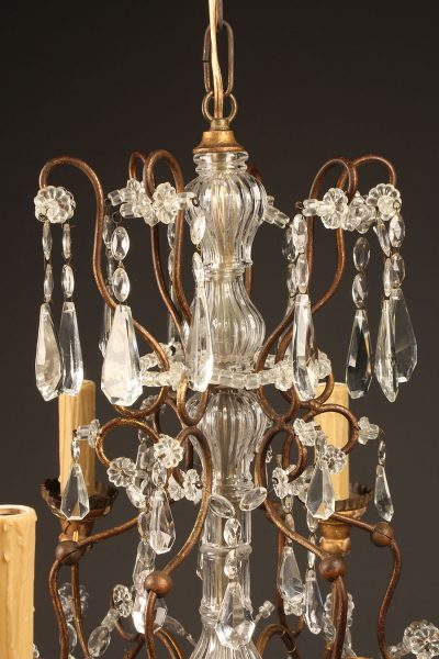 Late 19th century French iron, wood and crystal chandelier with 6 arms