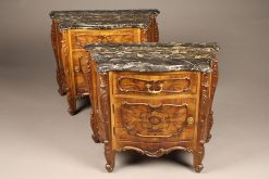 Pair of late 19th century French Louis XV style commodes with burl walnut veneer and black marble top